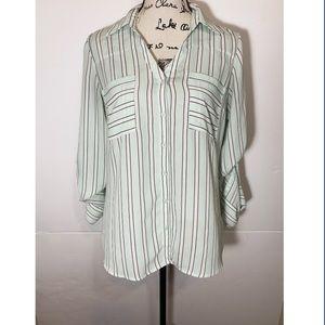 Express Portofino Striped Button Down Shirt